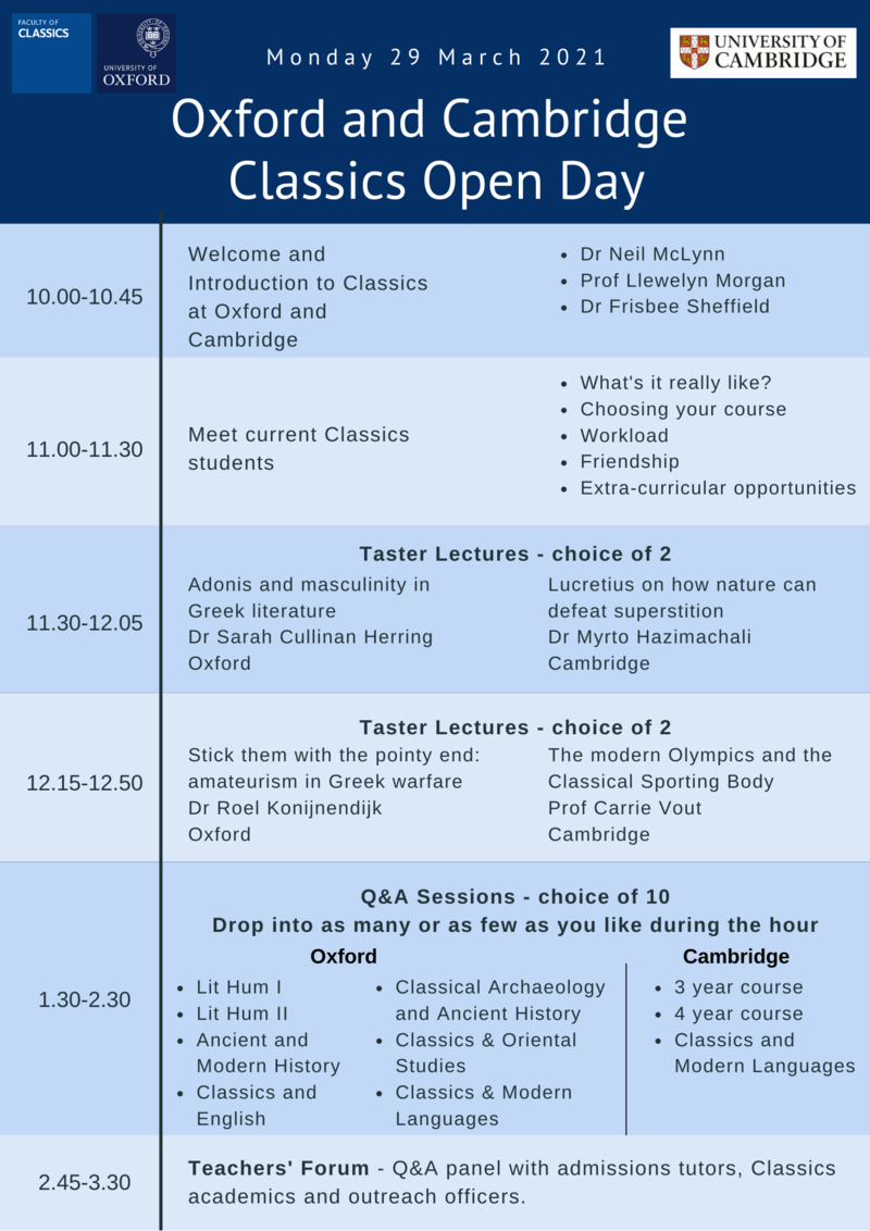 oxford cambridge classics open day programme