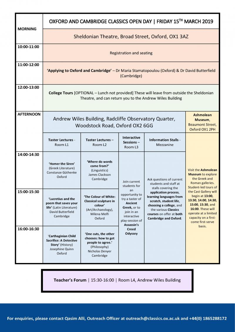 timetable  oxford and cambridge classics open day 2019